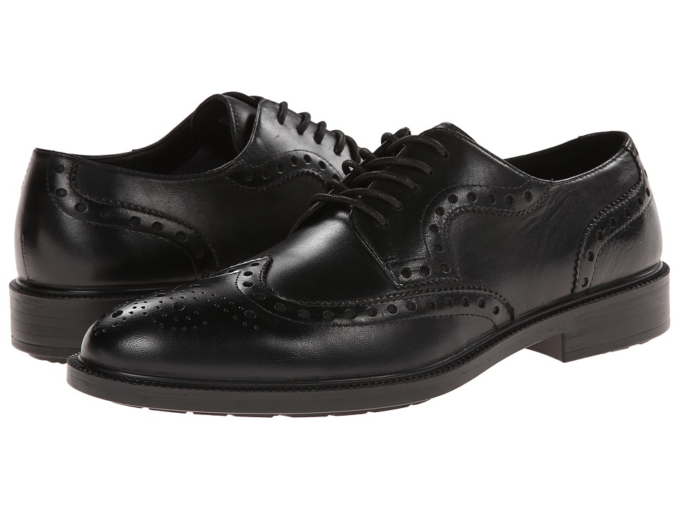 Hush Puppies Issac Banker Black WP Leather Mens Lace Up Wing Tip Shoes
