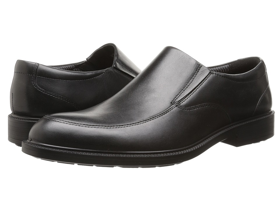 Hush Puppies Irving Banker Black WP Leather Mens Slip on Dress Shoes