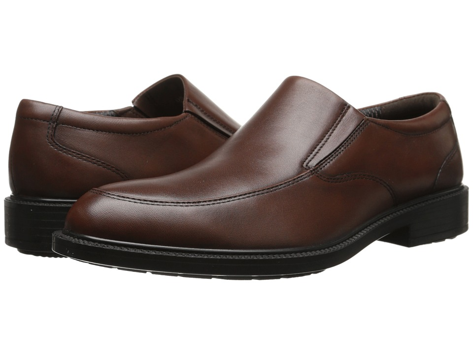 Hush Puppies Irving Banker Dark Brown WP Leather Mens Slip on Dress Shoes