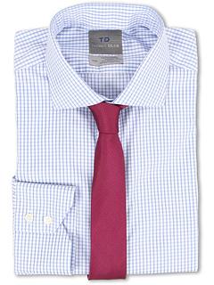 Non-Iron L/S Woven Dress Shirt w/ Spread Collar Sateen Check