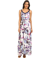 Yumi - Cherry Blossom Print Maxi Dress w/ Pleated Waist Detailing