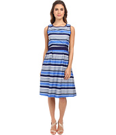 Yumi - Stripey Daisy Dress w/ Contrast Broderie