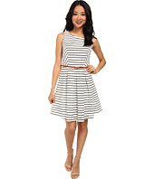 Yumi - Striped Skater Dress w/ Contrast Belt
