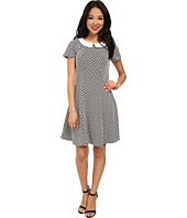 Yumi - Monochrome Collared Dress w/ Geo Jacquared Texture Pattern