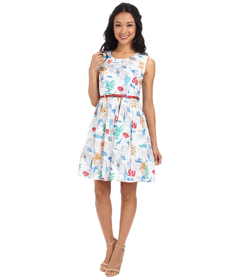 Yumi Botanical Postcard Print Sleeveless Dress w/ Belt