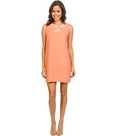 Yumi - Embellished Cut Out Shift Dress w/ Placed Applique On Neckline