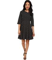 Yumi - Spot Skater Style 3/4 Sleeve Dress