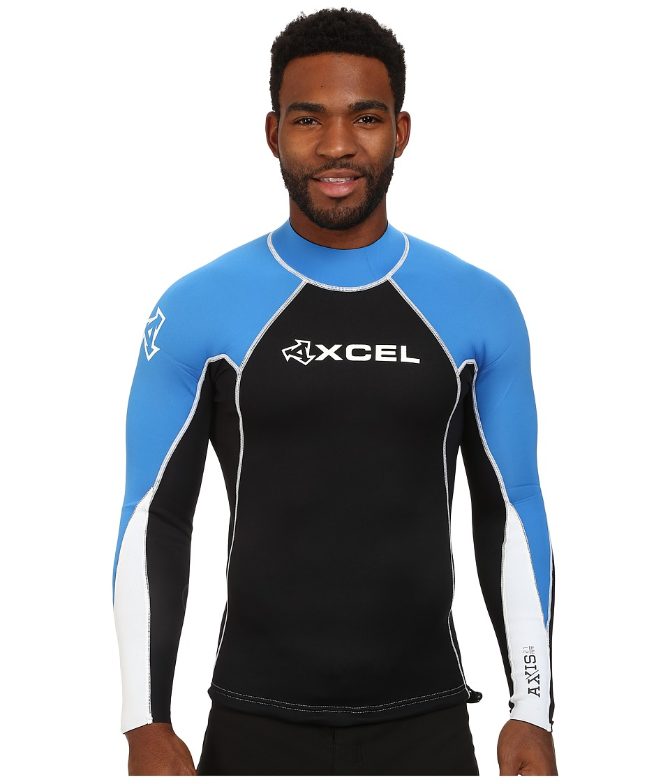 XCEL Wetsuits 2/1mm Axis Basic L/S Top Black/Black/Electric Blue Mens Swimwear