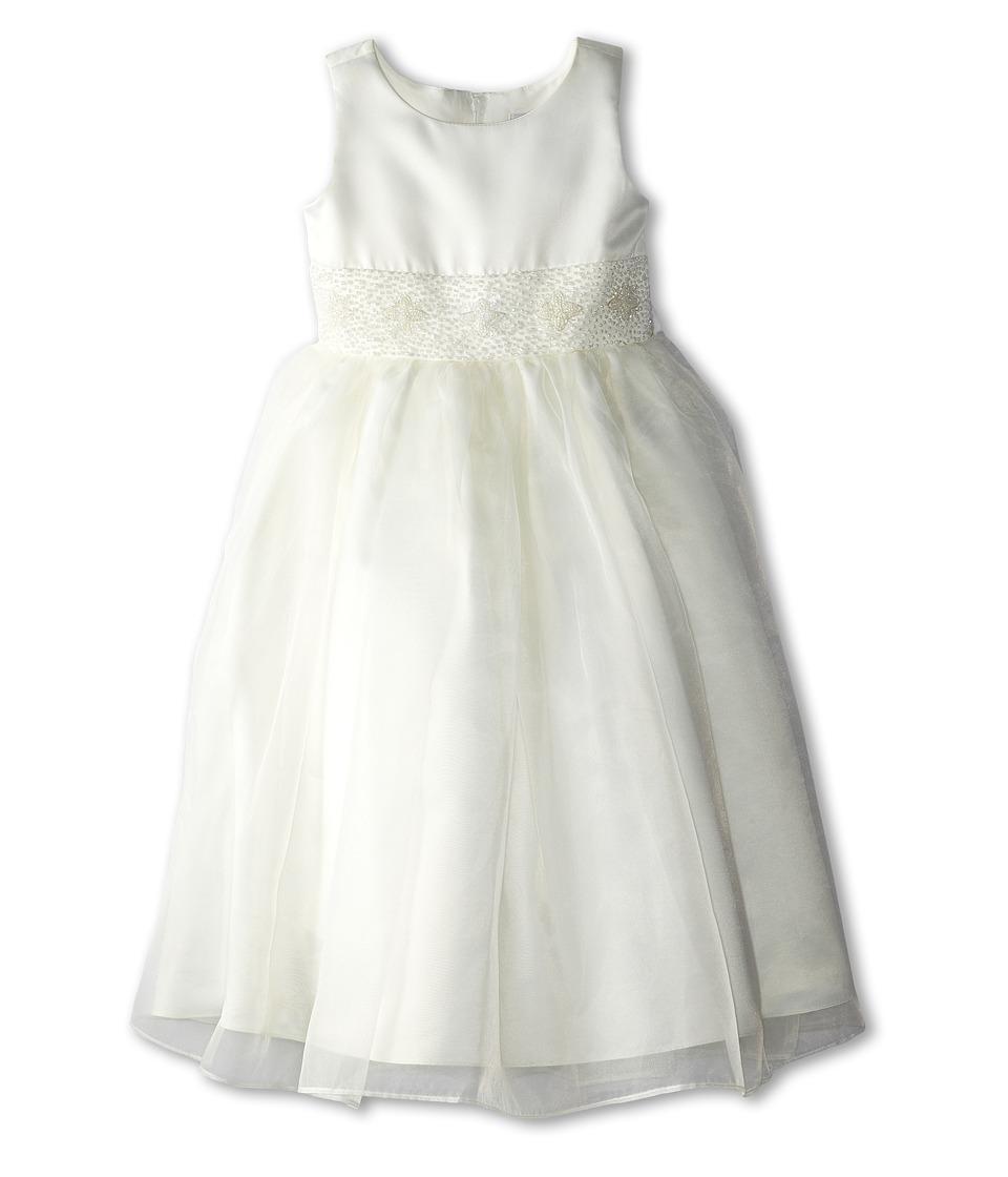 Us Angels Bead Sash Organza Dress Little Kids Ivory Girls Dress