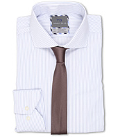 Thomas Dean & Co. - Fine Line Textured Stripe Non-Iron L/S Woven Dress Shirt