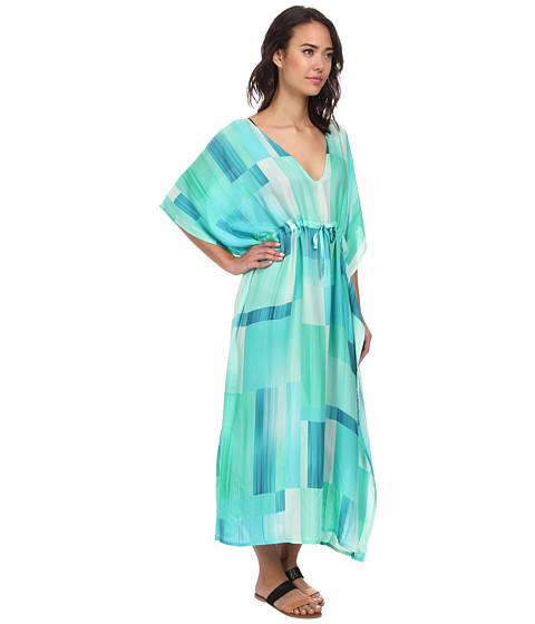 Echo design waterfall blocks silk dress cover up for Waterfall design dress