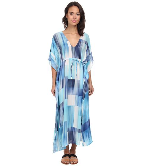 Echo design waterfall blocks silk dress cover up ocean for Waterfall design dress