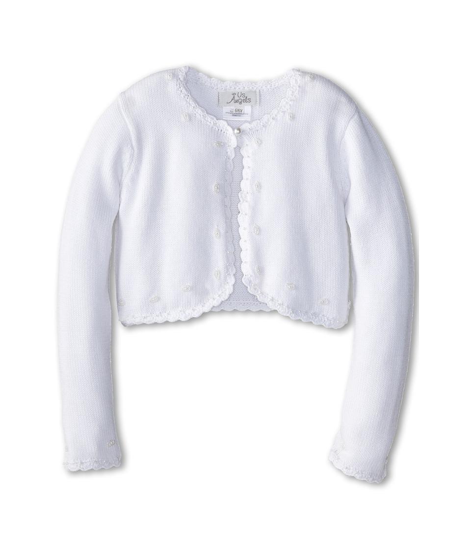 Us Angels Beaded Cotton Sweater Little Kids/Big Kids White Girls Sweater