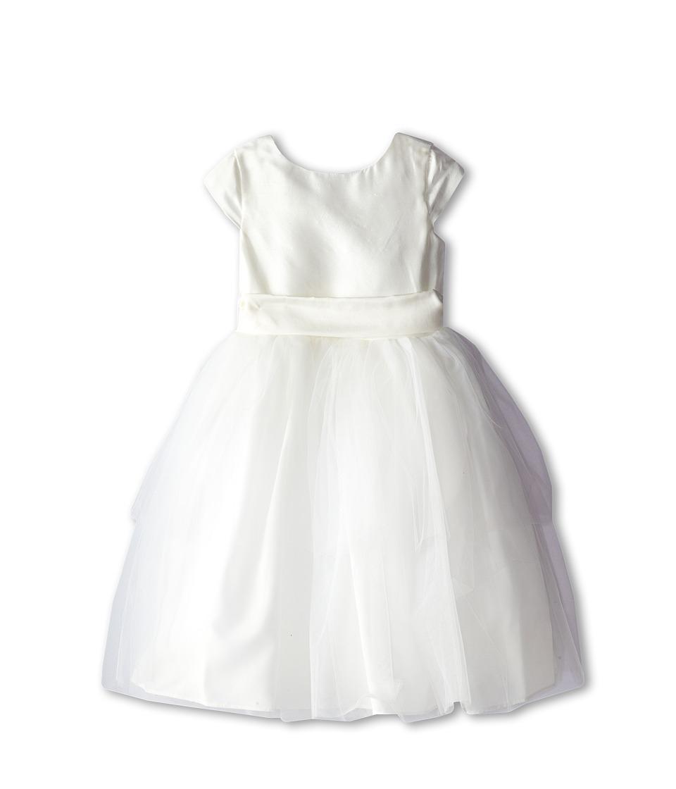Us Angels Cap Sleeve Silk and Tulle Dress Little Kids Diamond White Girls Dress