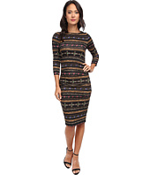 Nicole Miller - Quarter Length Sleeve Gilded Stripe-Stretch Jersey Dress