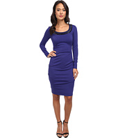 Nicole Miller - Long Sleeve Ponte Dress w/ Detail on Neckline