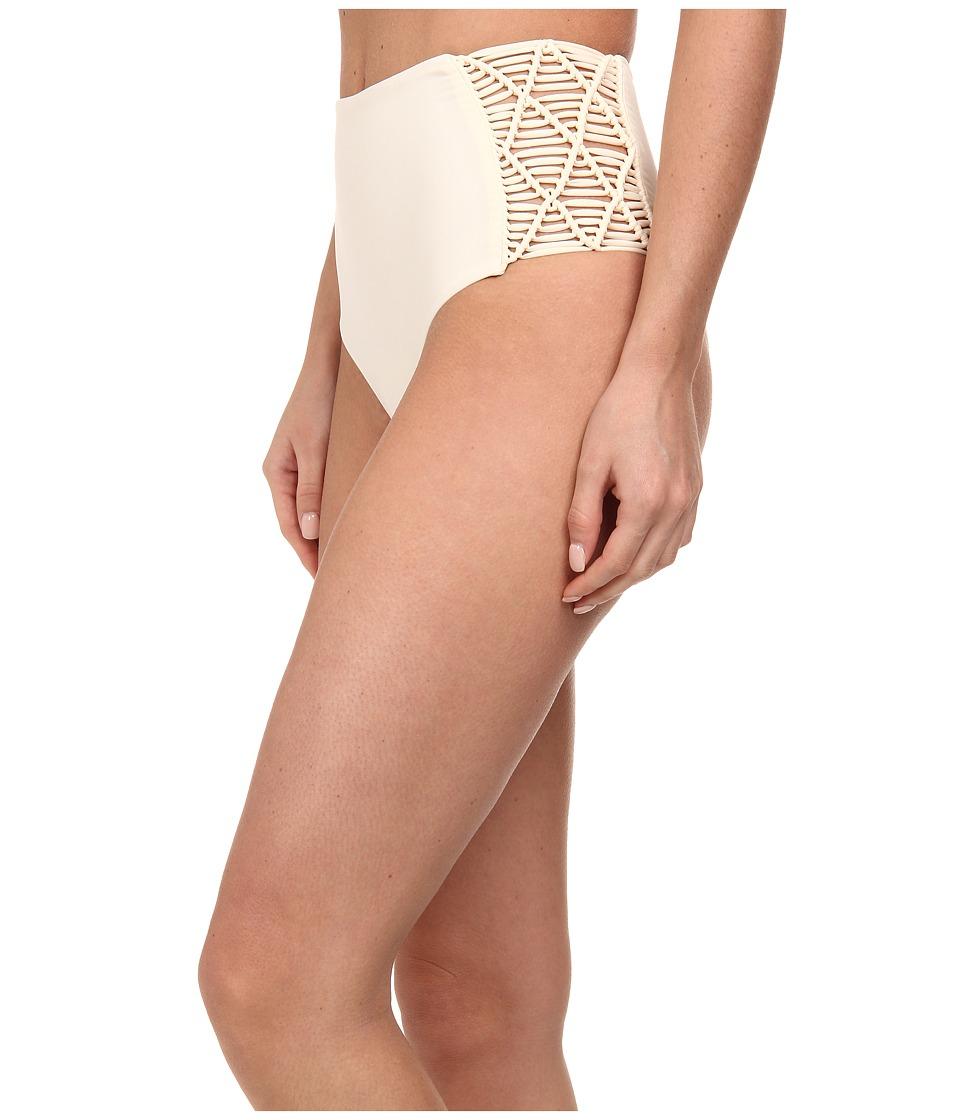 Image of MIKOH SWIMWEAR Rarotonga High Waisted Bottom with Side Woven Details (Bone) Women's Swimwear