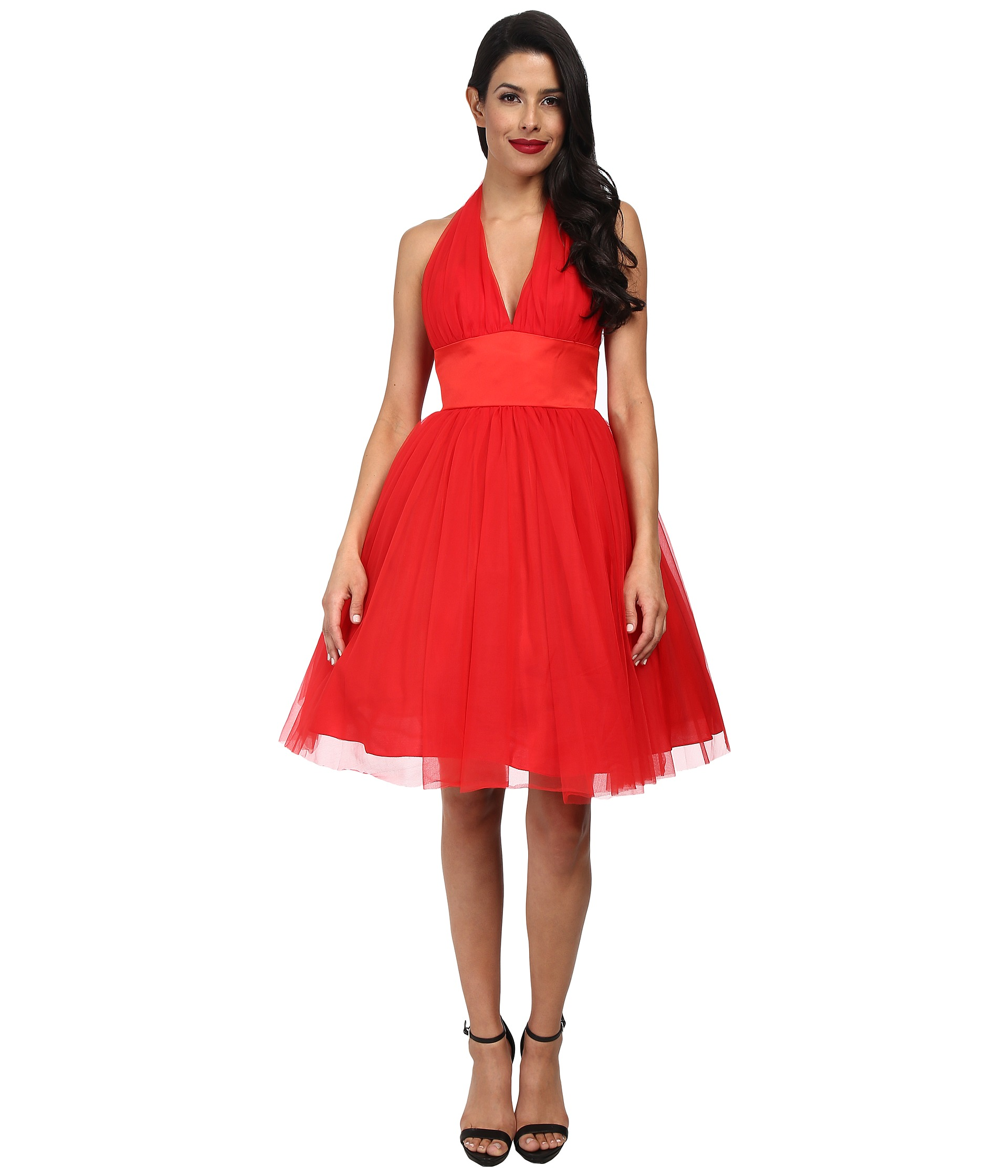 Unique Vintage Halter Midtown Cocktail Dress Red - 6pm.com