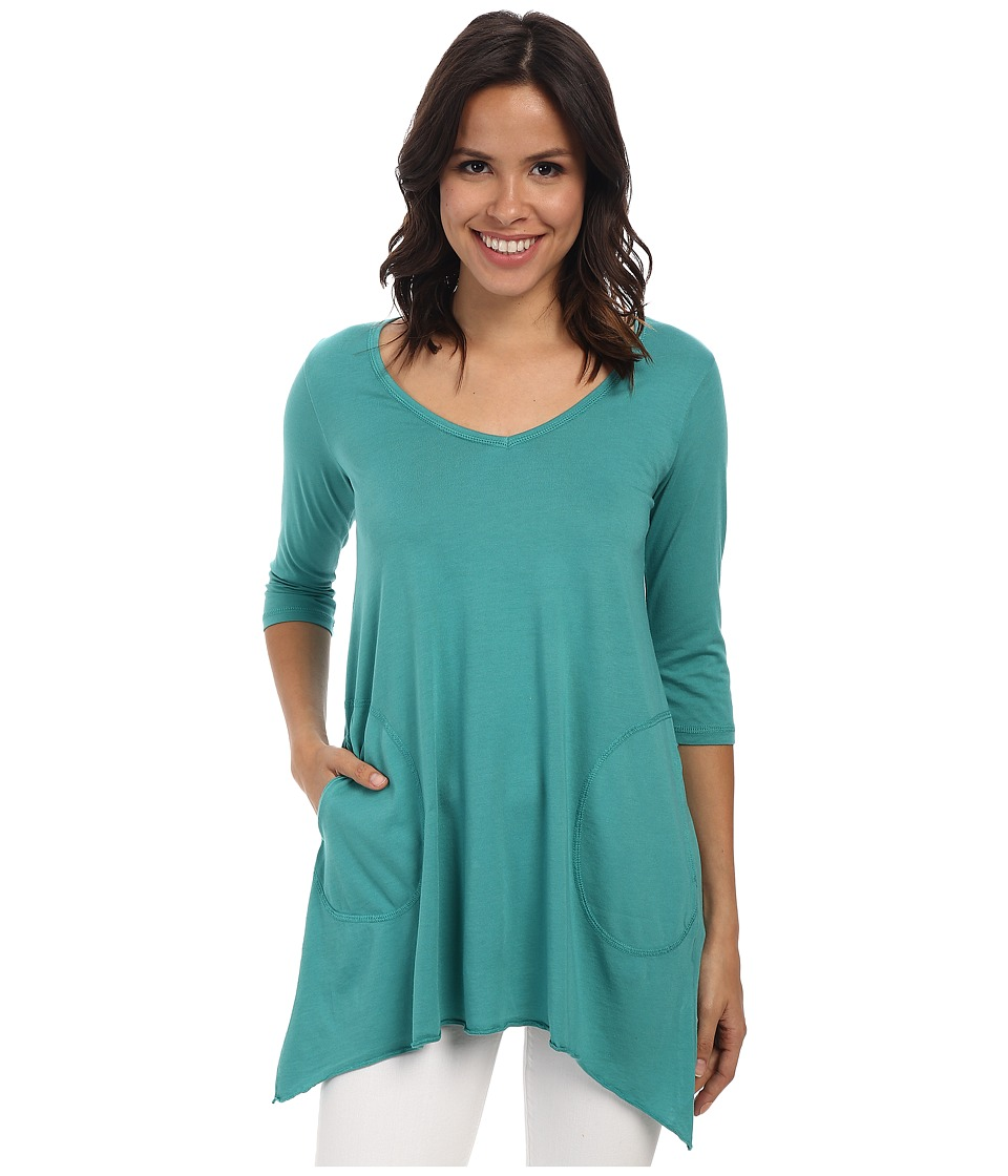 Allen Allen 3/4 Sleeve V Angled Tunic Emerald Womens Short Sleeve Pullover