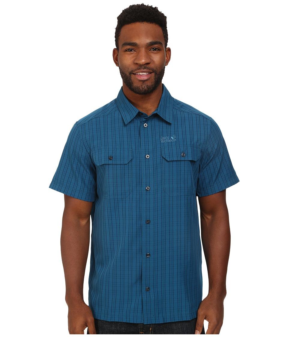 Jack Wolfskin Thompson Shirt Moroccan Blue Checks Mens Clothing
