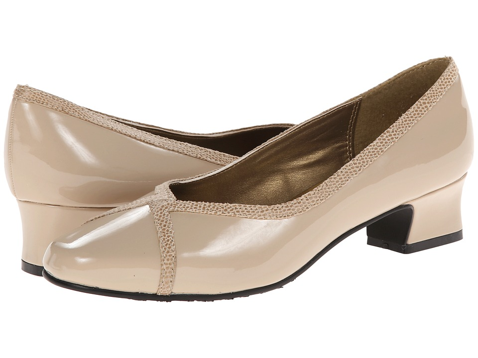 Soft Style - Lanie Light Taupe PatentLizard Womens 1-2 inch heel Shoes $49.00 AT vintagedancer.com