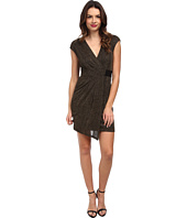 ABS Allen Schwartz - Metallic Knit Faux Wrap Drape Front Dress