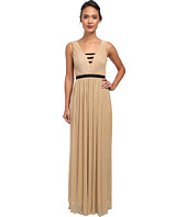 ABS Allen Schwartz - Metallic Mesh V-Neck Goddess Gown
