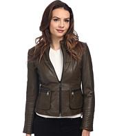 Nicole Miller - Zip Front Peplum Coat