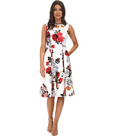 Adrianna Papell - Rose Print Classic Pleat Dress