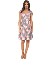 Adrianna Papell - Floral Jacquard Pleated Fit & Flare Dress