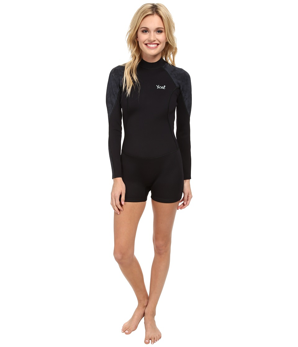 XCEL Wetsuits 2mm Lahaina L/S Springsuit Black Womens Wetsuits One Piece