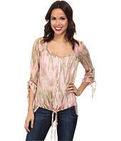Miraclebody Jeans - Dora Tie Front Woven Blouse w/ Body-Shaping Inner Shell