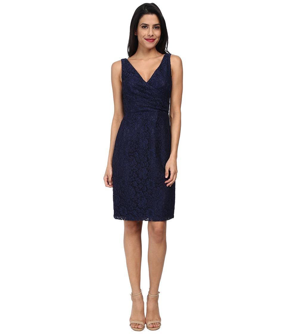 Donna Morgan Lulu V-Neck Lace Dress (Indigo) Women