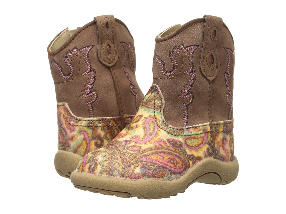 Roper Kids Faux Leather Paisley Glitter Print Infant/Toddler Brown Cowboy Boots
