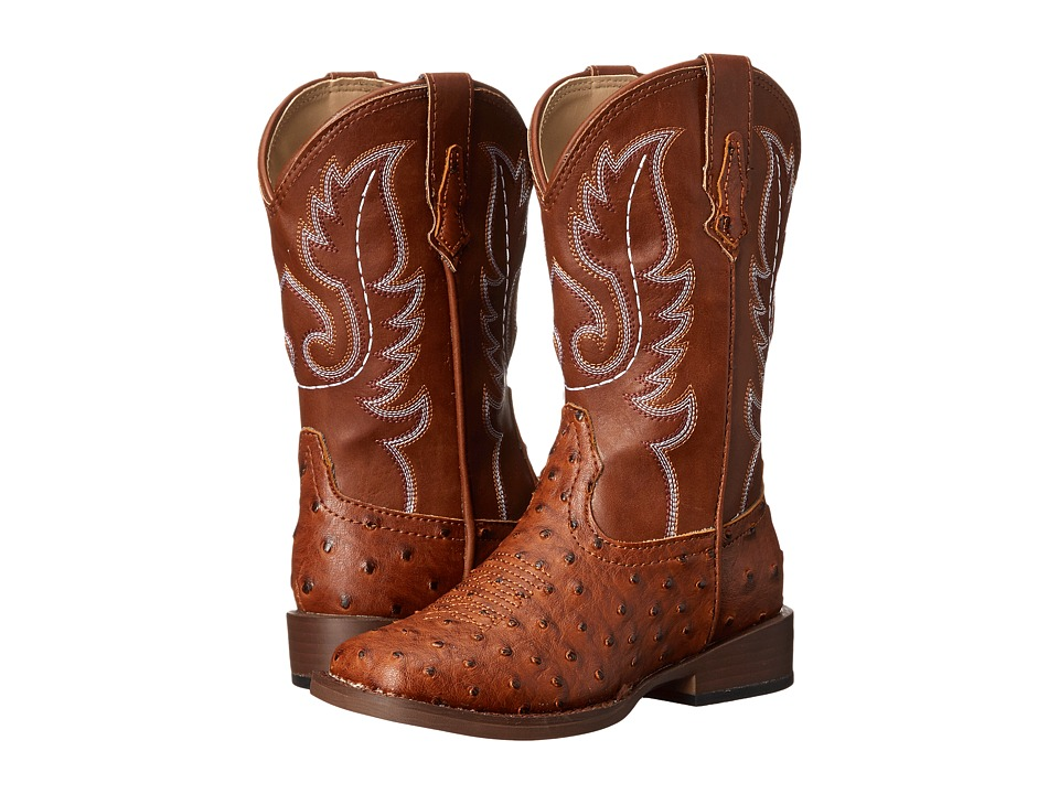 Roper Kids Faux Leather Ostrich Print Toddler/Little Kid Tan Cowboy Boots