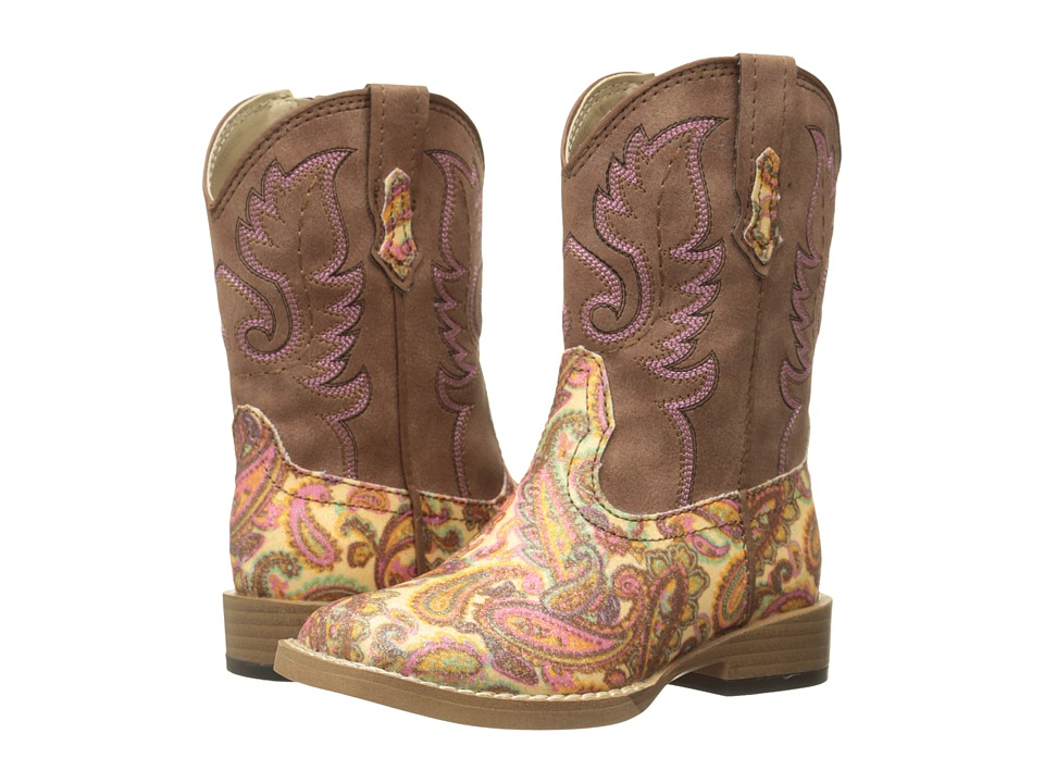 Roper Kids Faux Leather Paisley Glitter Print Toddler Brown Cowboy Boots