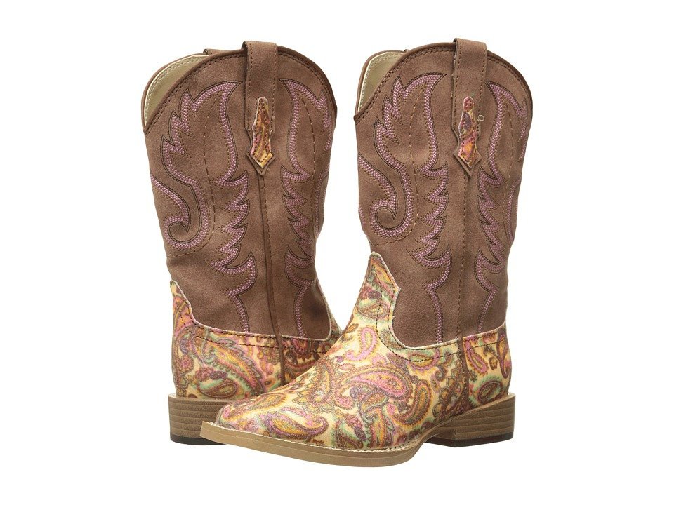 Roper Kids Faux Leather Paisley Glitter Print Toddler/Little Kid Brown Cowboy Boots