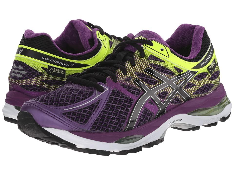 ASICS GEL Cumulus 17 GTX Plum/Onyx/Flash Yellow Womens Running Shoes