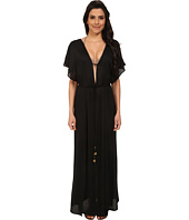 Vix - Solid Black Agatha Long Caftan Cover-Up