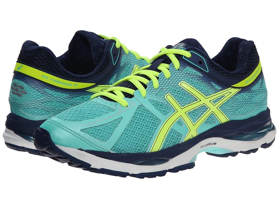 ASICS Gel Cumulus 17 Aqua Mint/Flash Yellow/Navy Womens Running Shoes