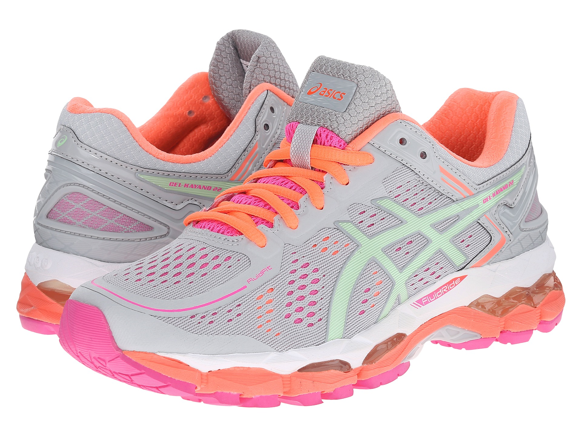 asics gel kayano 22 silver grey pistachio fiery coral free shipping both ways. Black Bedroom Furniture Sets. Home Design Ideas
