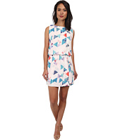 Sam Edelman - Geo Print Keyhole Back Dress w/ Ruffle