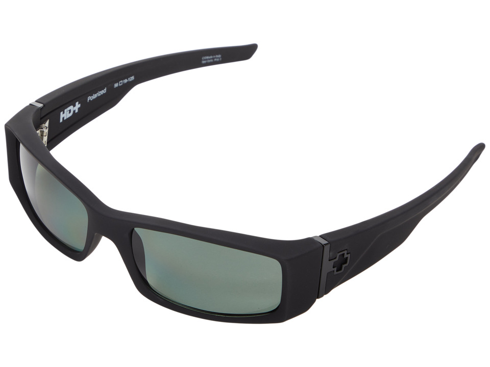 Spy Optic Hielo (Soft Matte Black/Happy Gray Green Polar) Plastic Frame Fashion Sunglasses