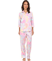 LAUREN by Ralph Lauren - Hampton Classics Sateen L/S Classic Notch Collar PJ