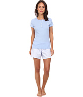 LAUREN by Ralph Lauren - Hampton Classics S/S Knit Top w/ Woven Boxer PJ Set