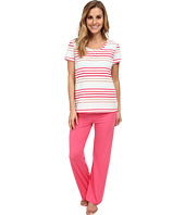 Jockey - Spring Pop S/S Striped Top w/ Solid Long Pant Pajama Set