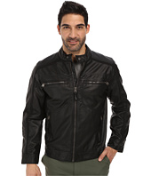 Calvin Klein - Faux Leather Four Pocket Moto Jacket w/ Canvas Trim