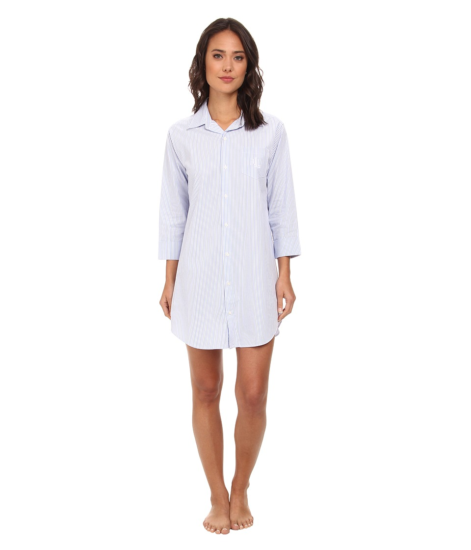 LAUREN Ralph Lauren - Essentials Striped His Shirt (Carissa Bengal Stripe French Blue/White) Womens Pajama