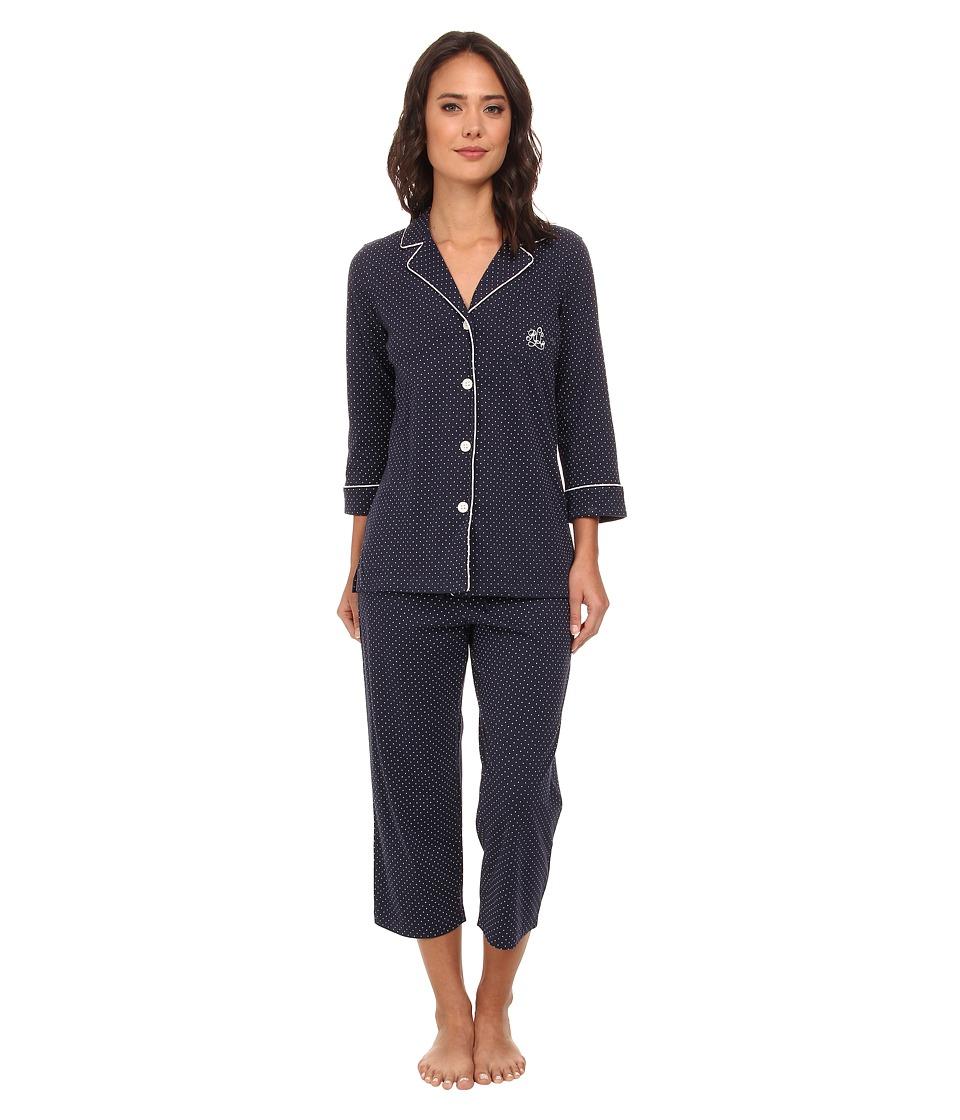 LAUREN Ralph Lauren - Essentials Bingham Knits Capri PJ Set (Madeleine Dot Windsor Navy/White) Womens Pajama Sets