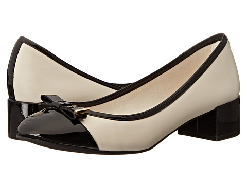 Beige Black Cap Toe Block Heel Pump by Cole Haan